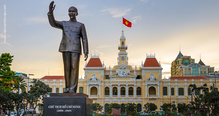 Statue of the greater Ho Chi Minh in front of the People's Committee building.