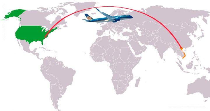Direct fly from United State of America to Vietnam by Vietnam Airlines