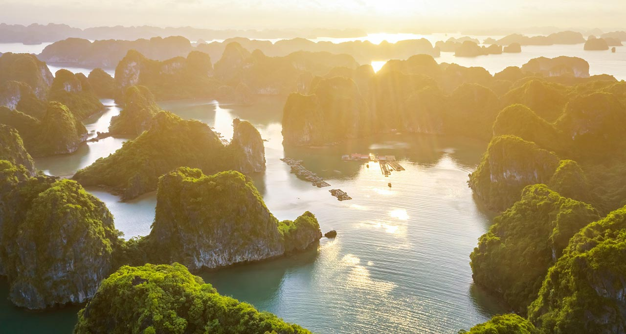 stunning scenery of Halong Bay from above