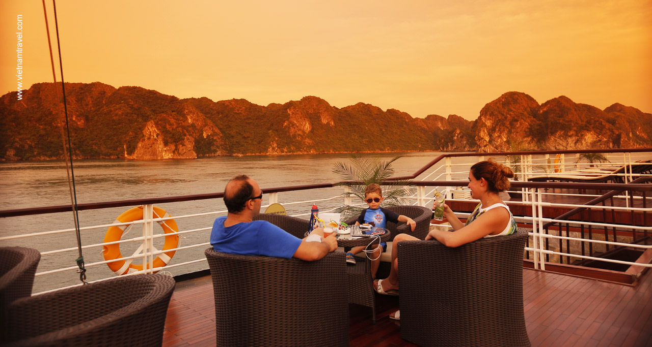 Relax on Halong Cruise's sundeck