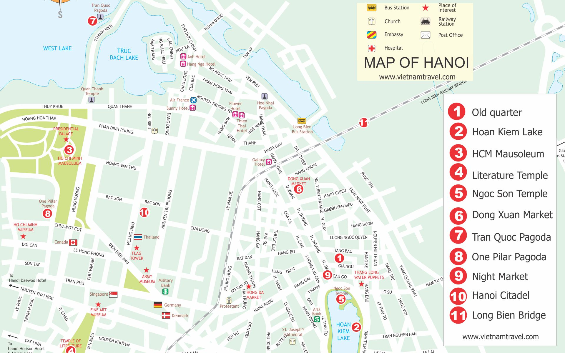 Map of top Hanoi Tourist attractions