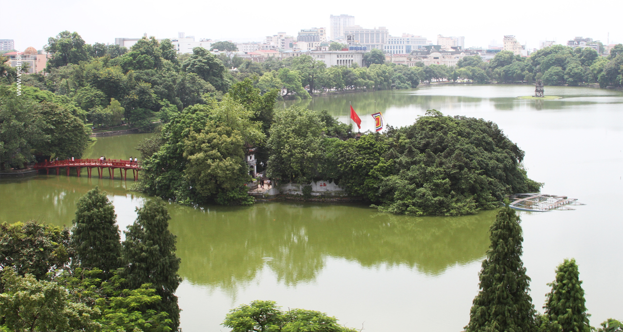 View from top roof cafe in Cau Go Street to the temple & the lake.