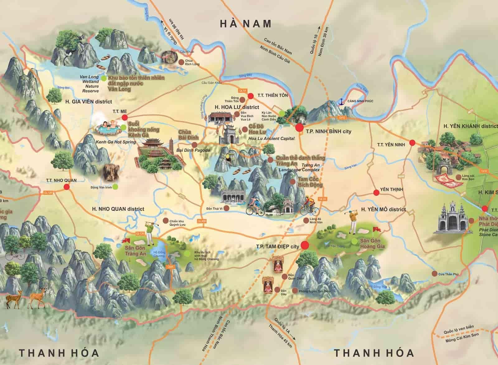 Map of Trang An, Tam Coc - Ninh Binh