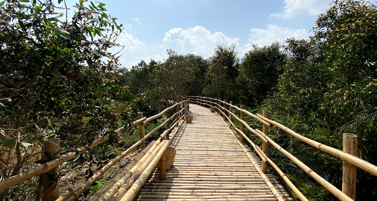 The bridge is made by bamboo