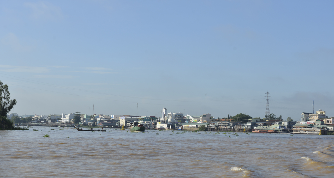 Chau Doc city view from Mekong River