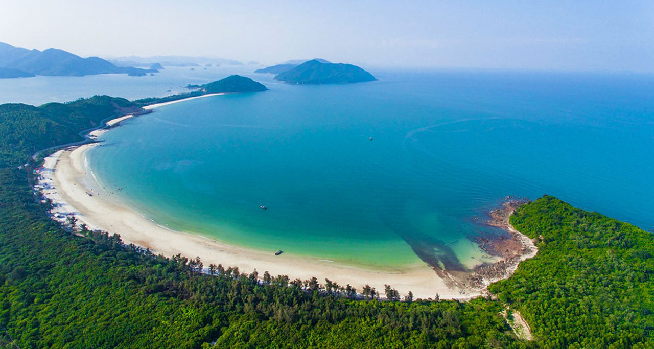 A panoramic breathtaking view of Quan Lan Island from above