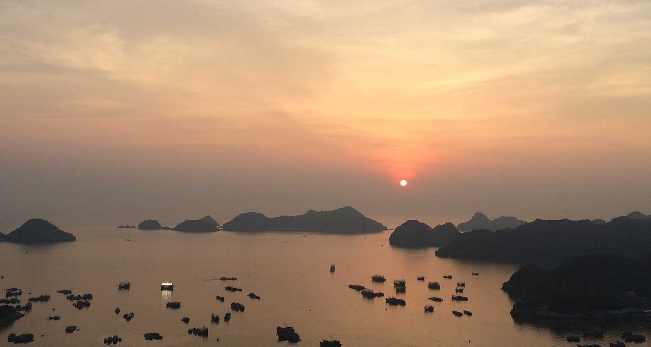 Sunset cat ba island