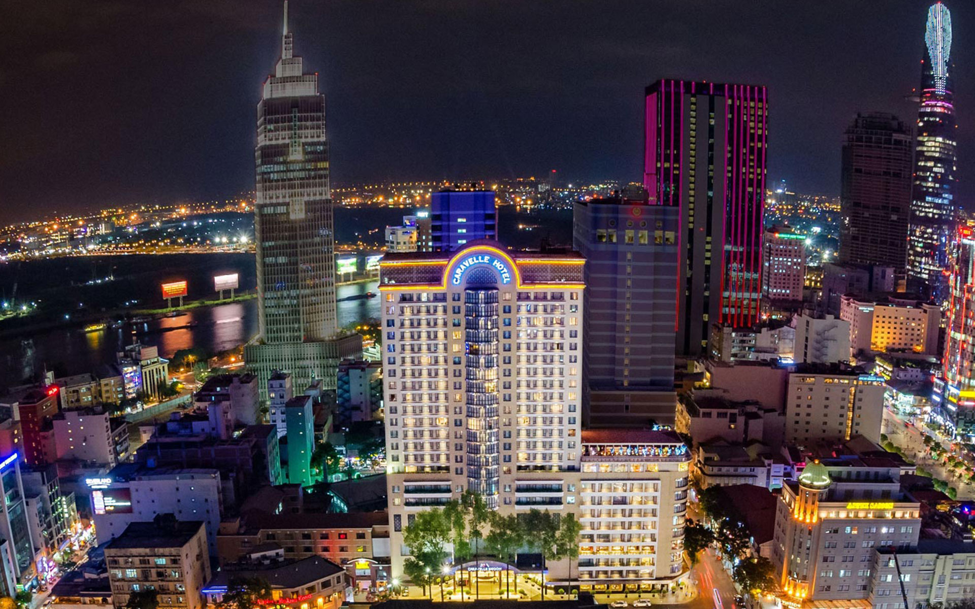 Sparkling Caravelle Hotel Saigon at night