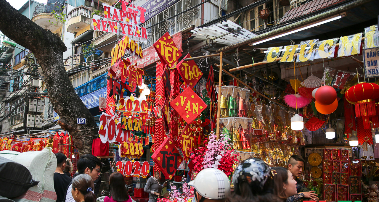 Colorful Old quarter of Hanoi in Jan when people prepare for coming TET