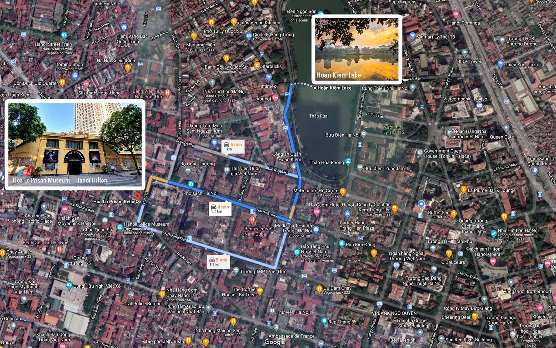 Map of Hanoi Hilton and How to get from Hoan Kiem lake to Hoa Lo Prison