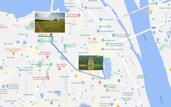 Map of Ba Dinh square on Google Map