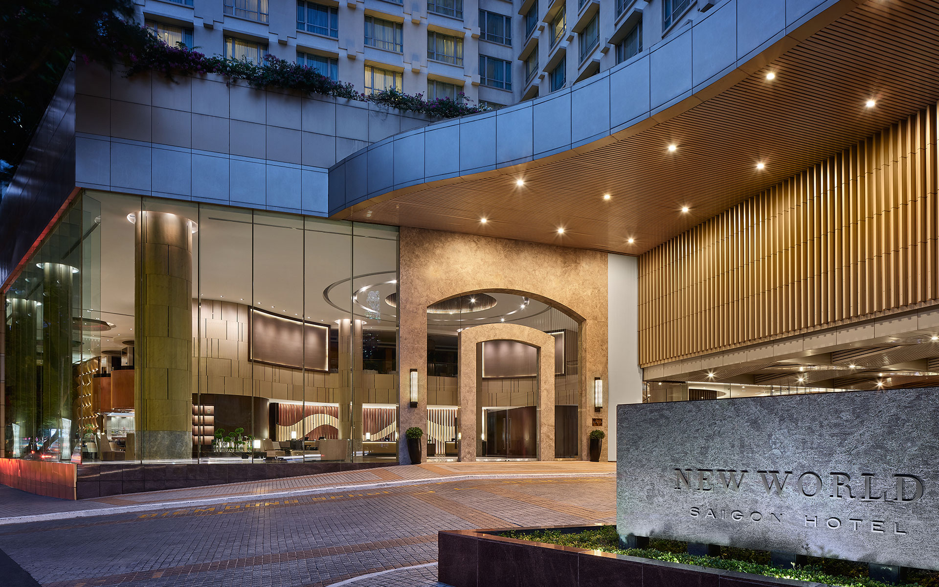 Spacious entrance and lobby of New World Saigon Hotel