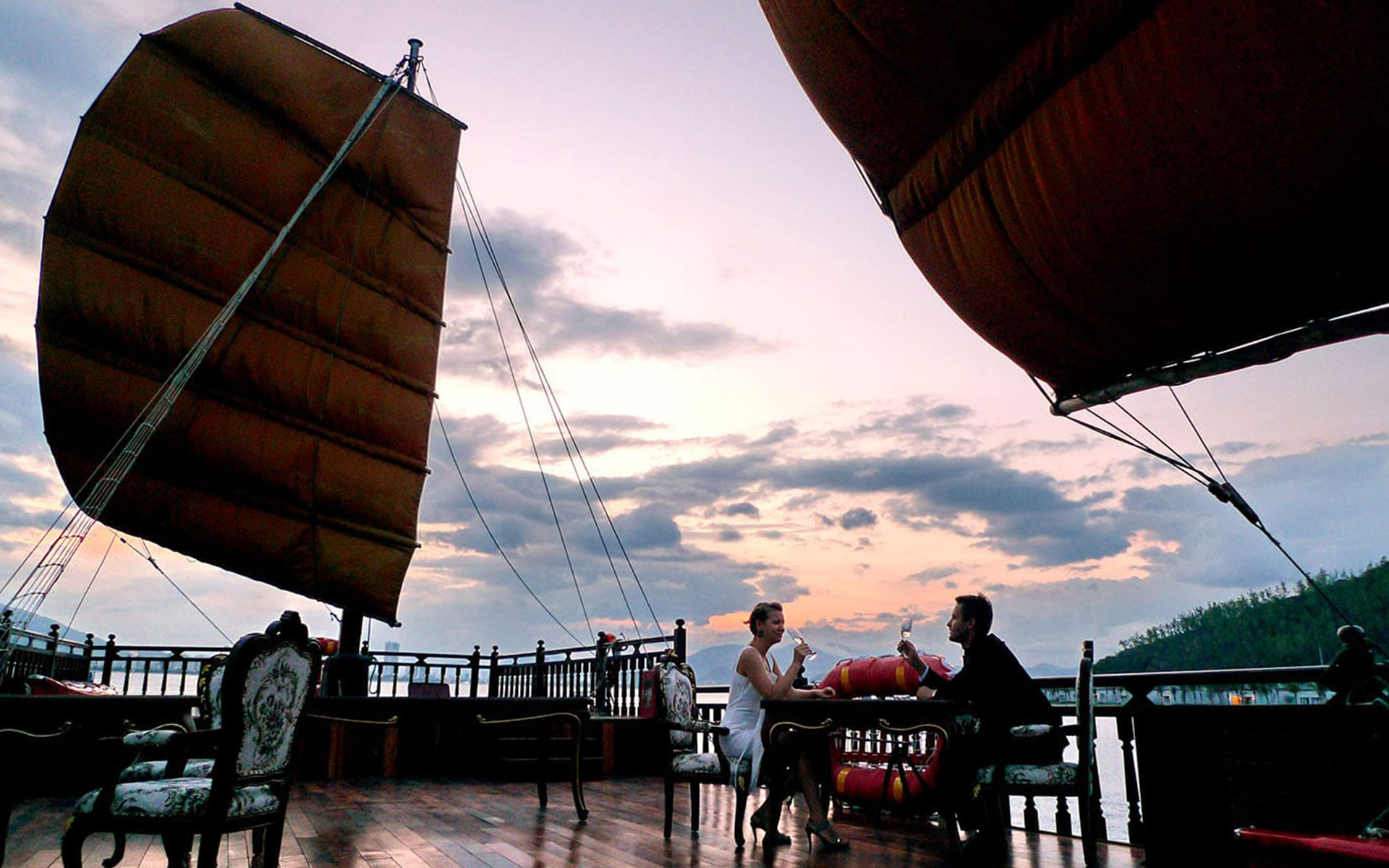 Romantic couples are highly recommended to set sail on Emperor Cruise in Nha Trang Bay in sunset.