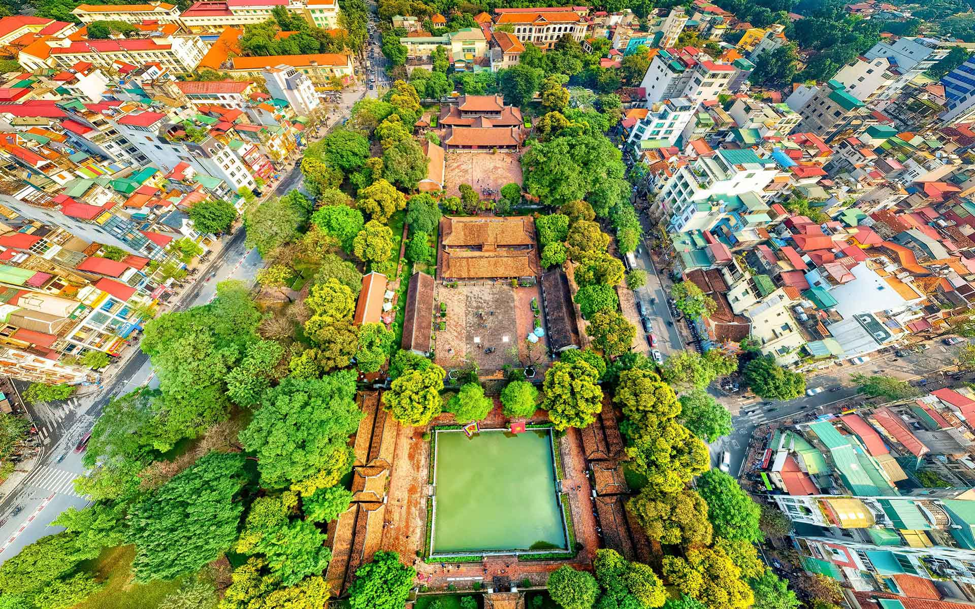 View of Hanoi's Literature Temple from above