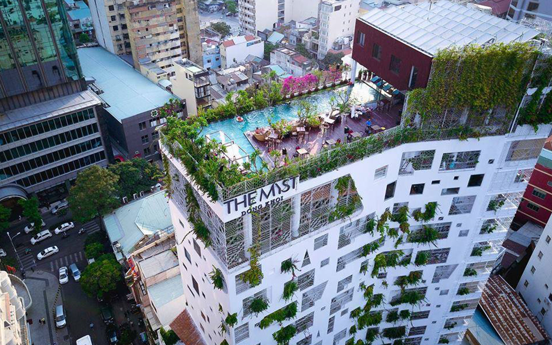 24-meter rooftop swimming pool of The Myst Dong Khoi from above