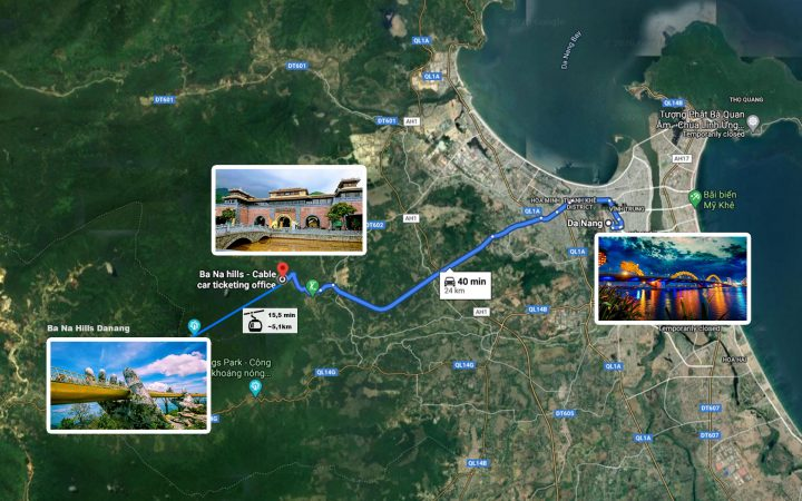 map from Danang city center to Ba Na hills