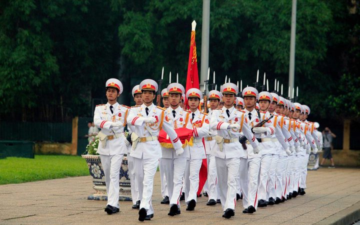 the flag raising in Ba Dinh square