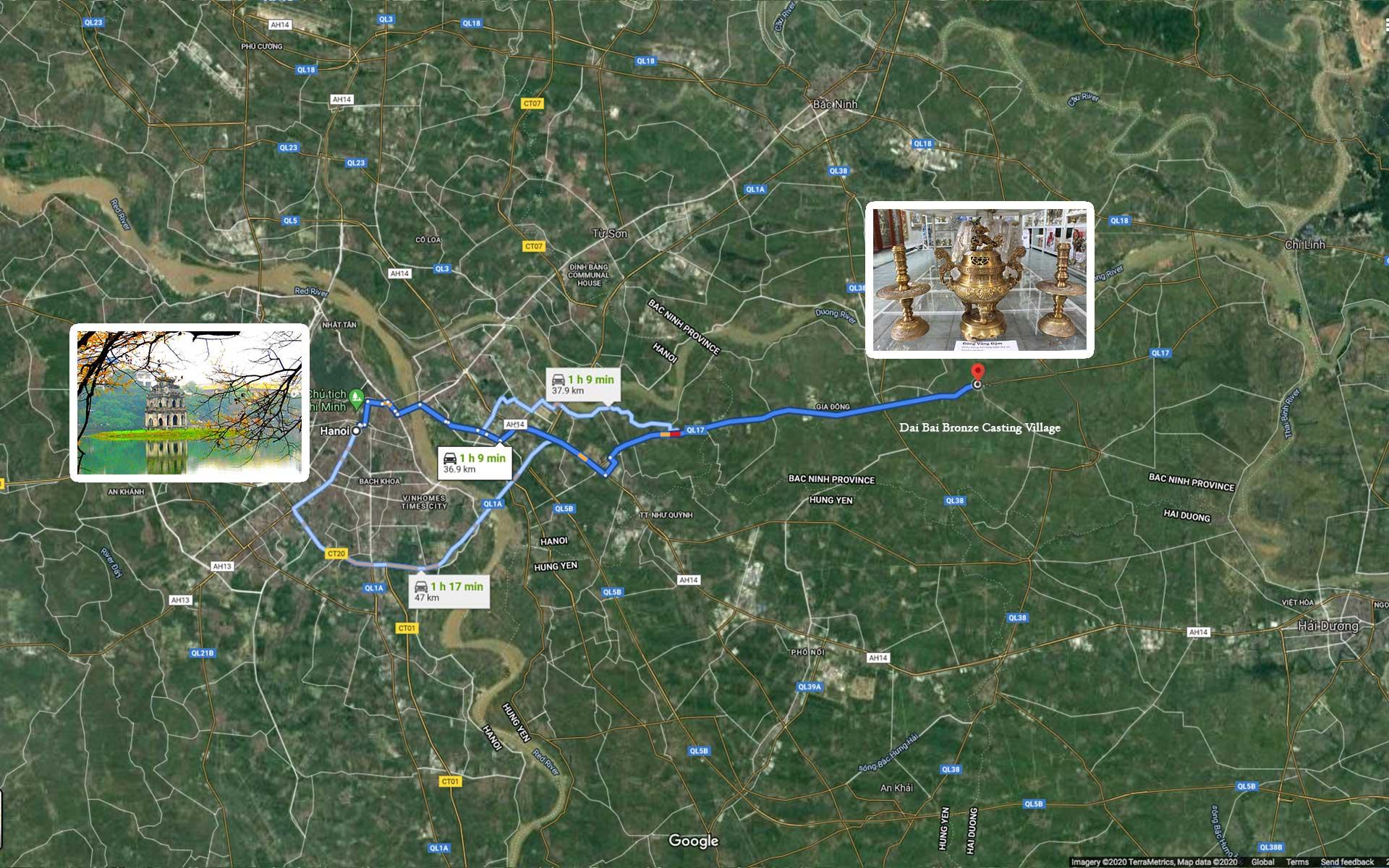 map Hanoi to Dai Bai village