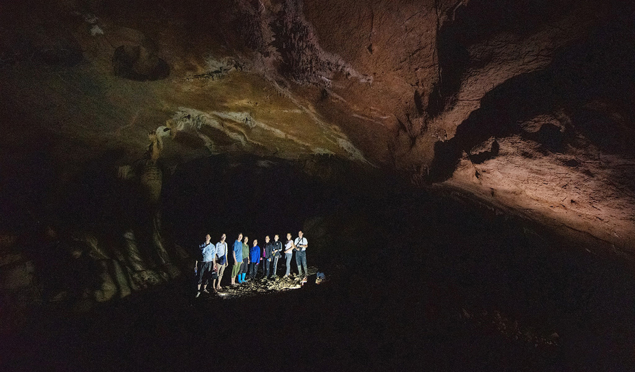 Group of spelunkers at the cave