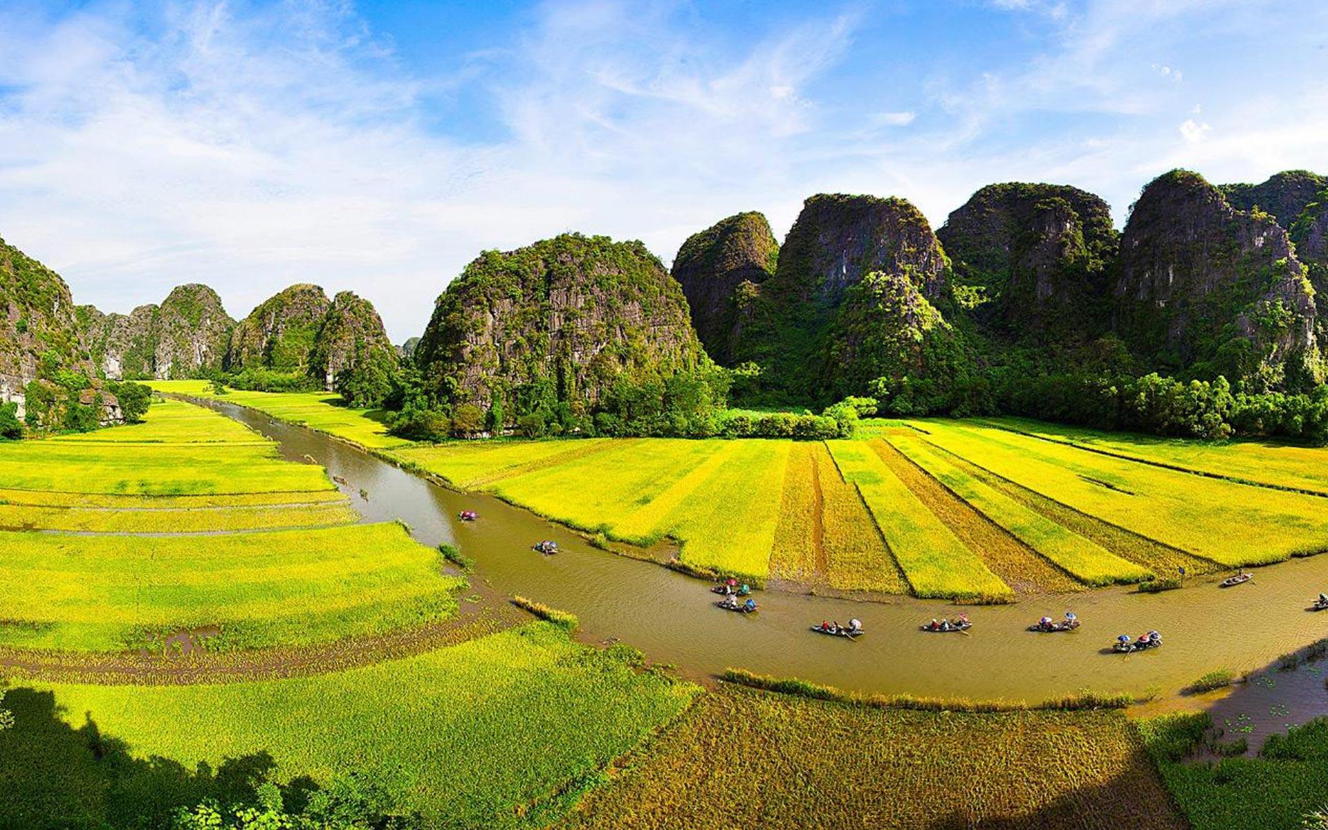 Ngo Dong river in Ninh Binh Vietnam