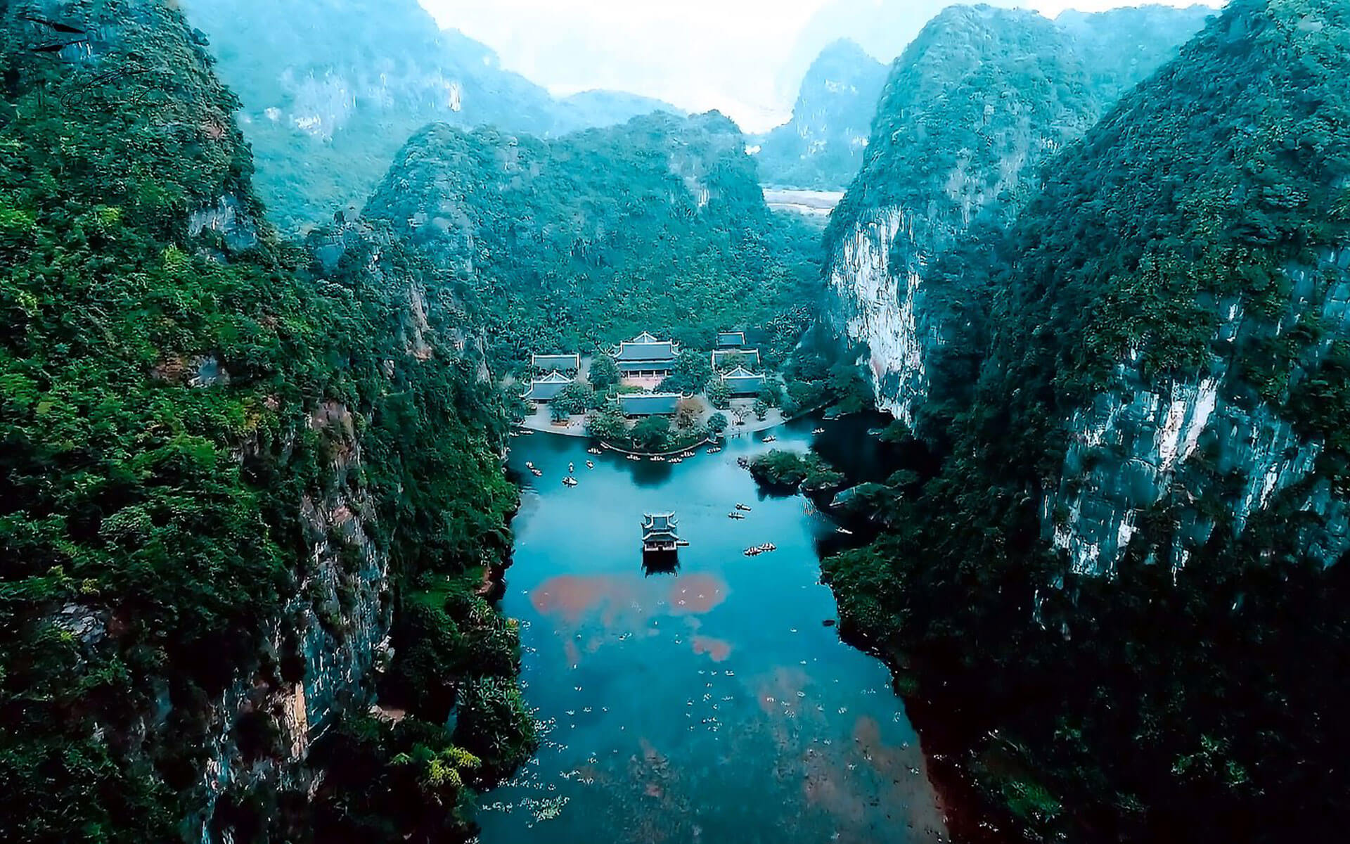 Panoramic view of Trang An Scenic Landscape Complex from above
