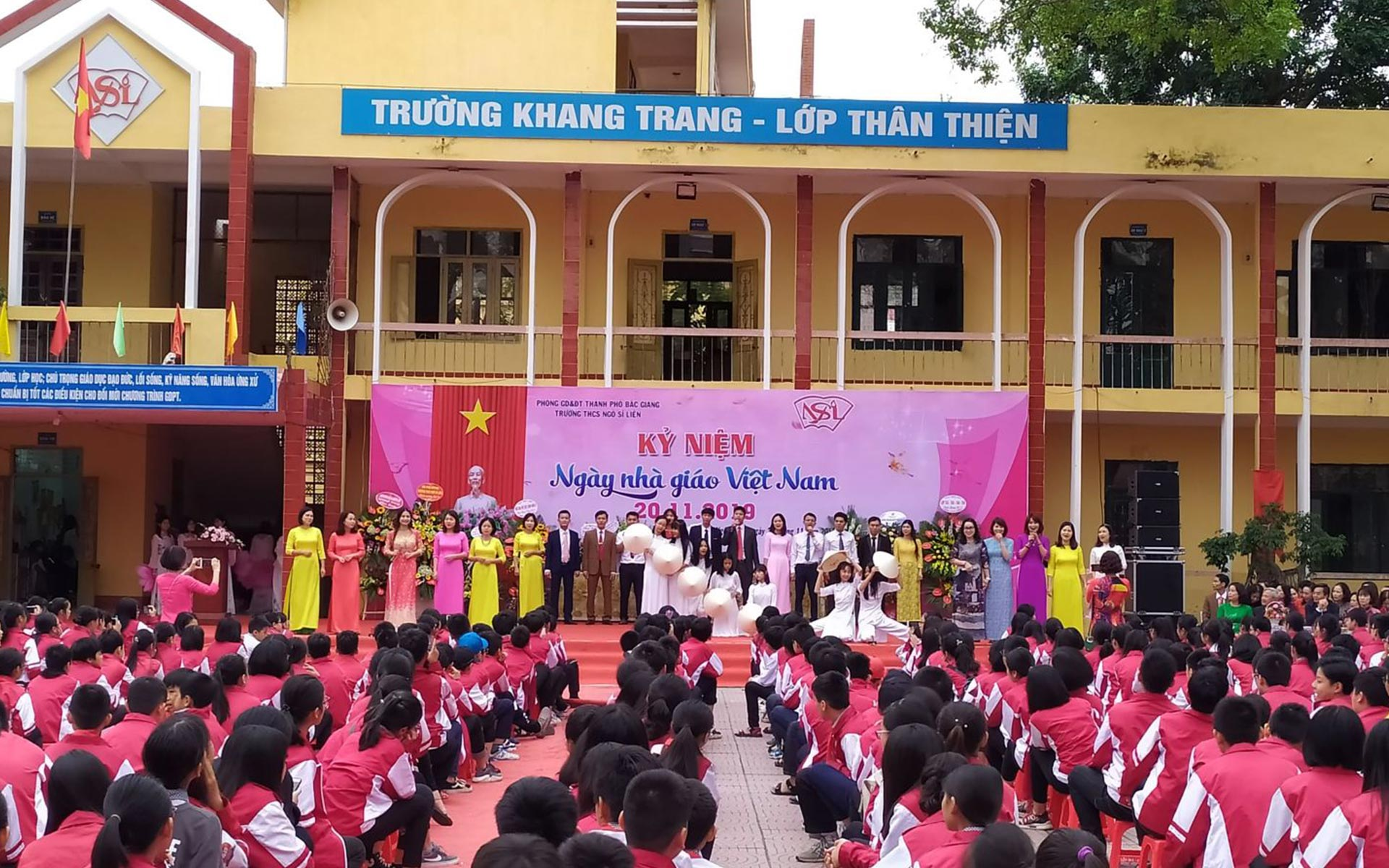 A school is organizing the celebration of Vietnamese Teacher's Day