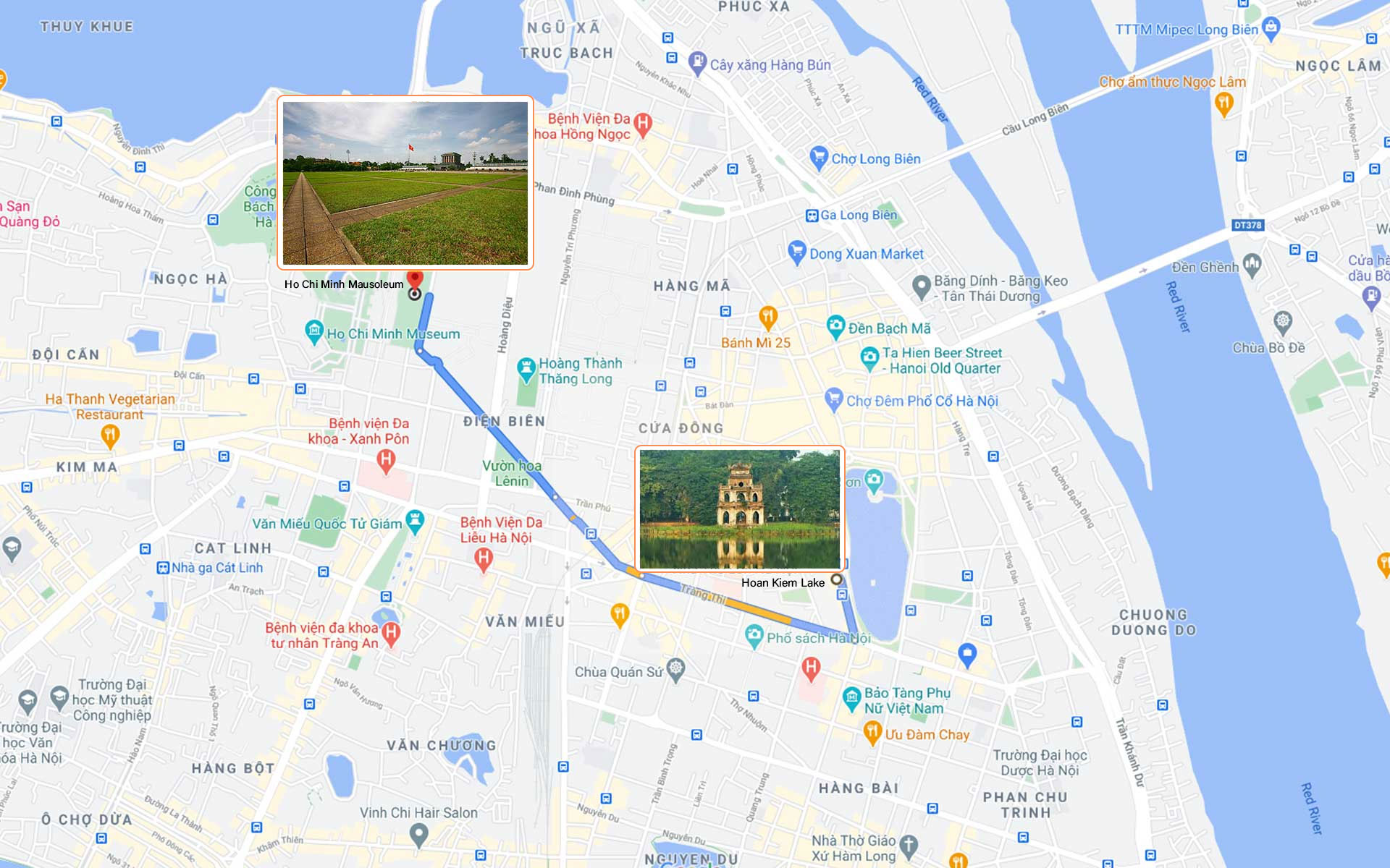 map from city center to Ho Chi Minh Mausoleum