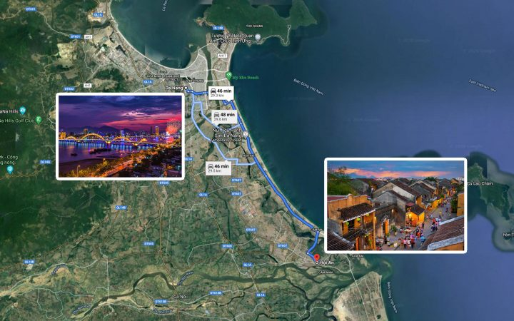 map from Danang to Hoi An
