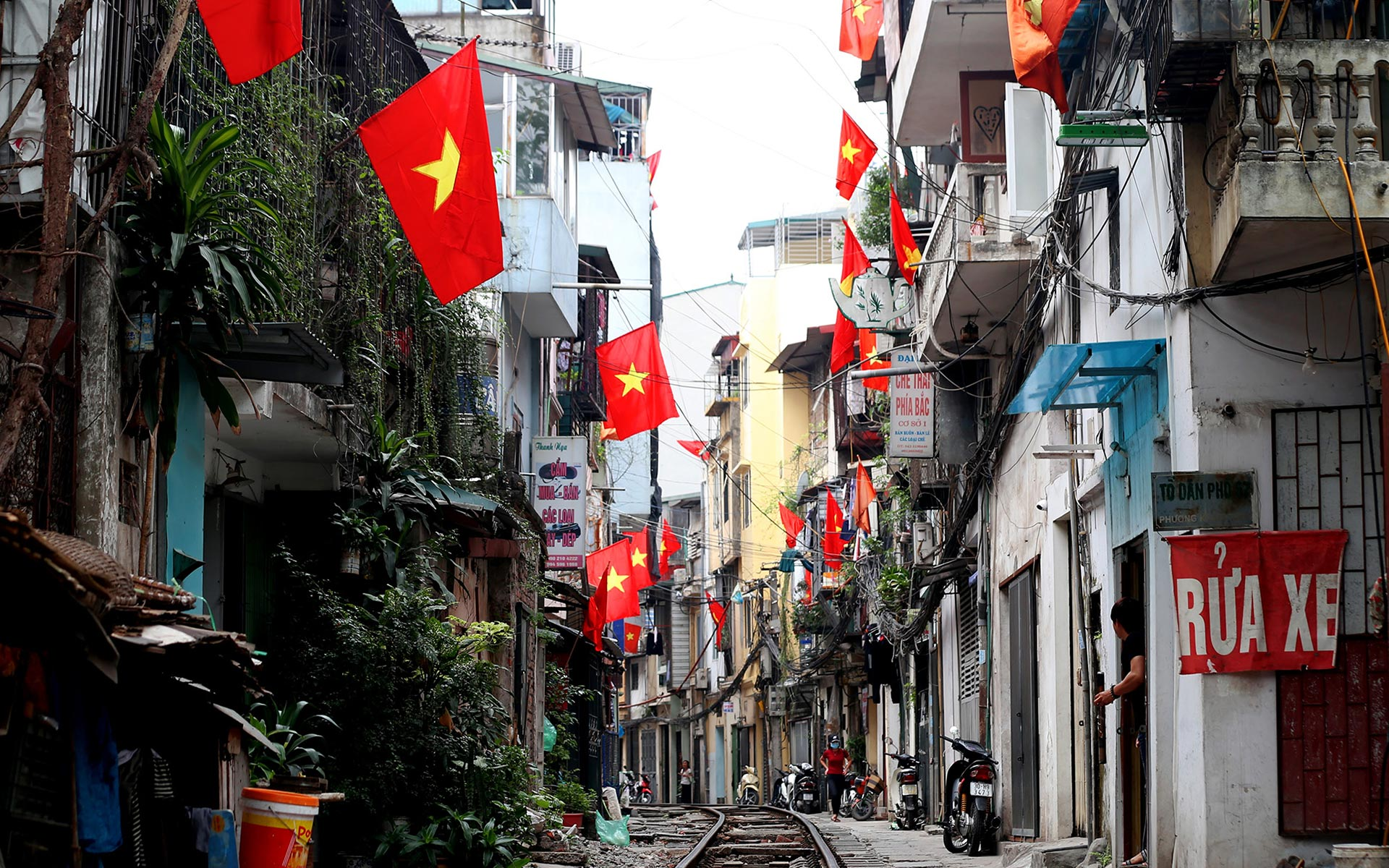 Vietnamese national flag is hang on to celebrate Reunification Day