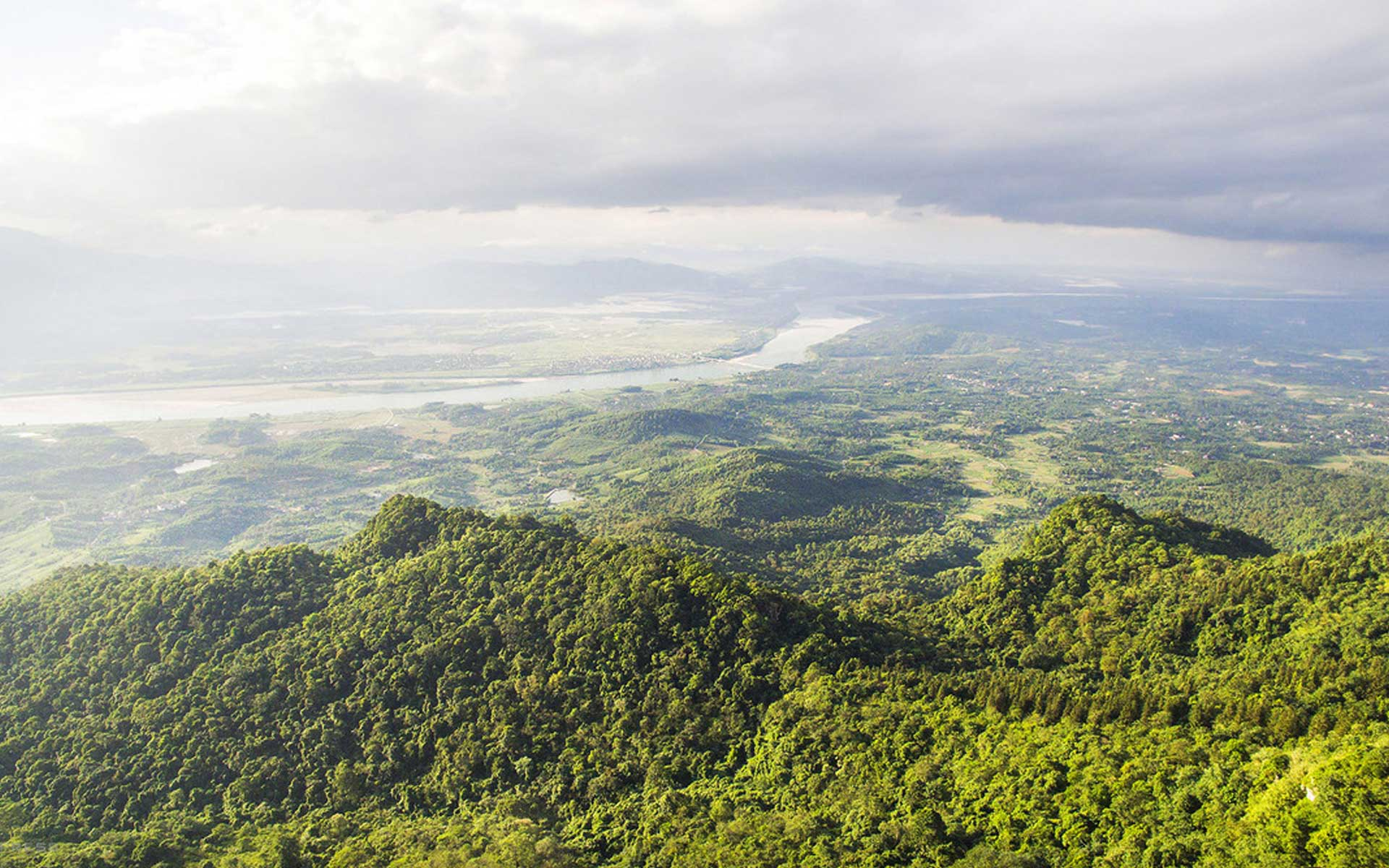 View of Ba Vi National Park and Da River from the above