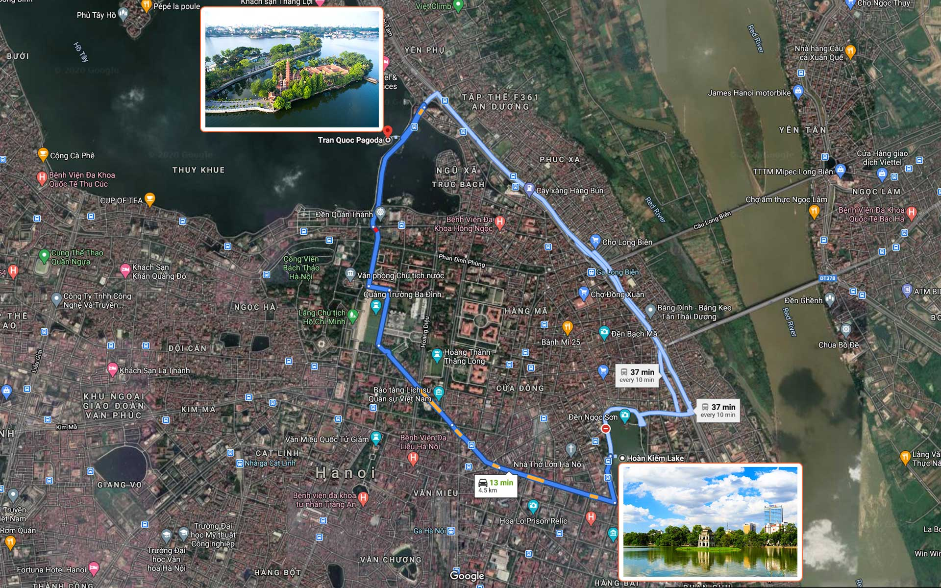 Map of route from Hoan Kiem Lake to Tran Quoc Pagoda