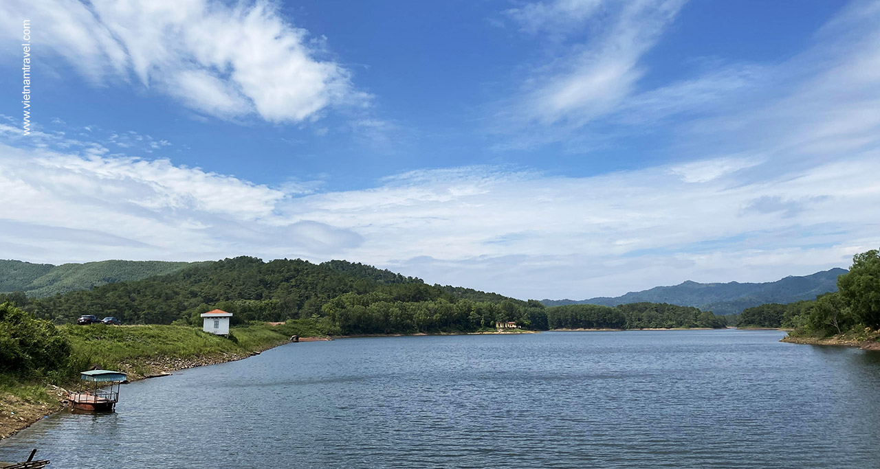 Khuon Than Lake is water reservoir for Lychee farms in Luc Ngan district.