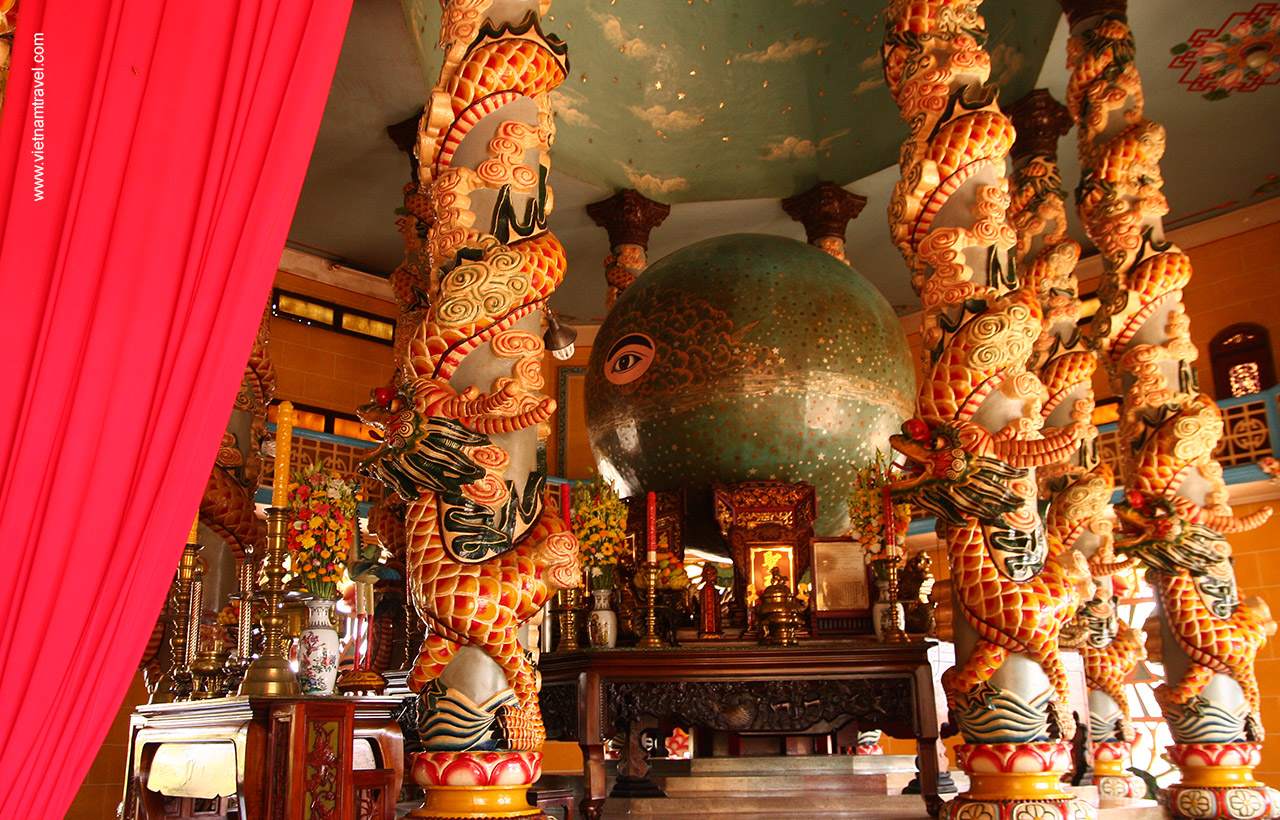 Holy section inside Cao Dai Temple