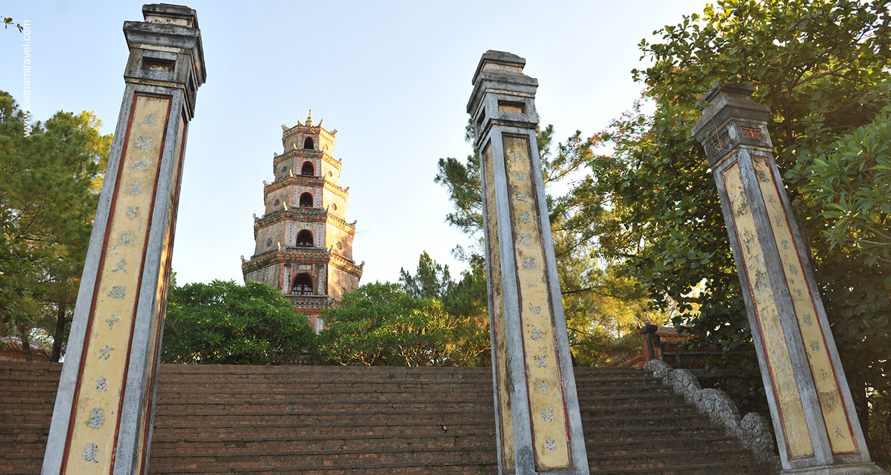 Front entrance to Thien Mu Pagoda - view from Perfume river