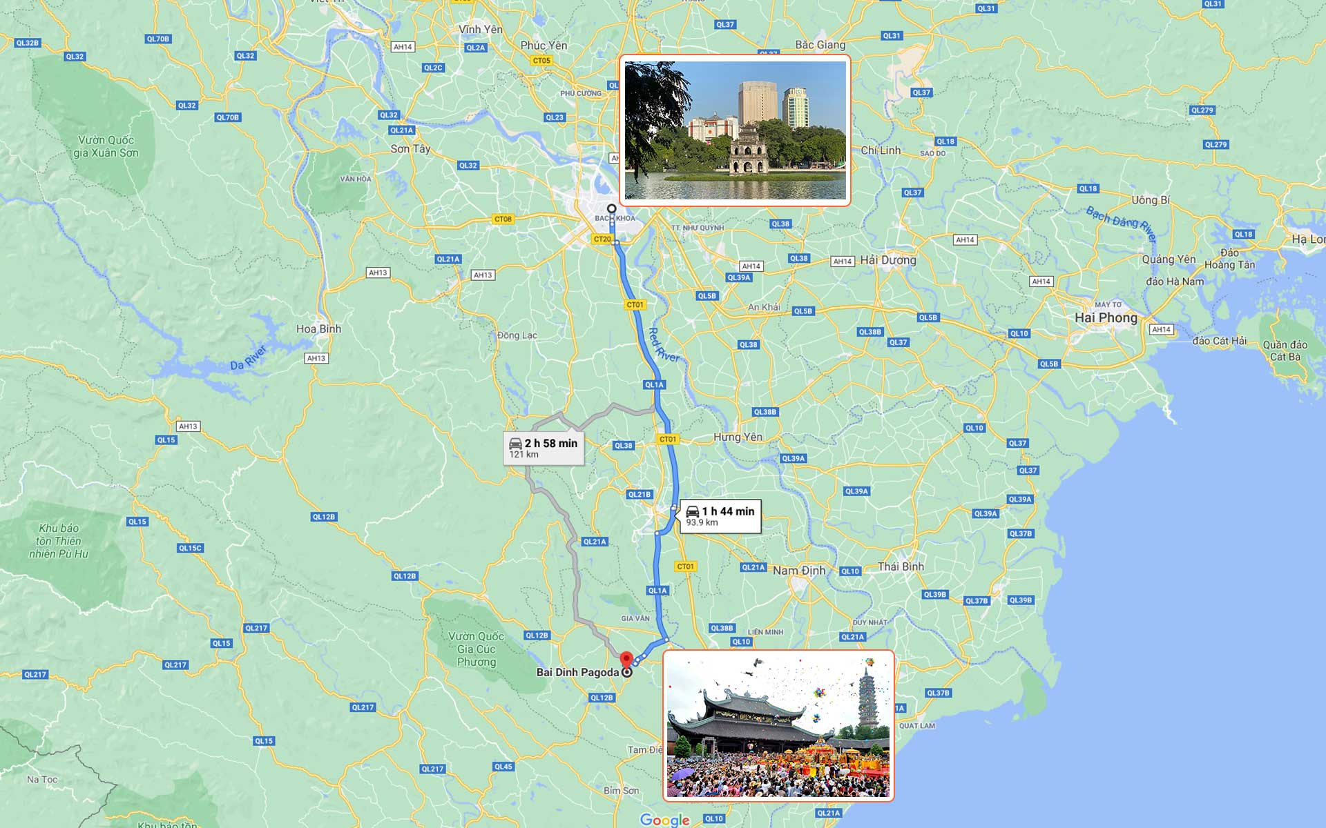 map from Hanoi to Bai Dinh Pagoda
