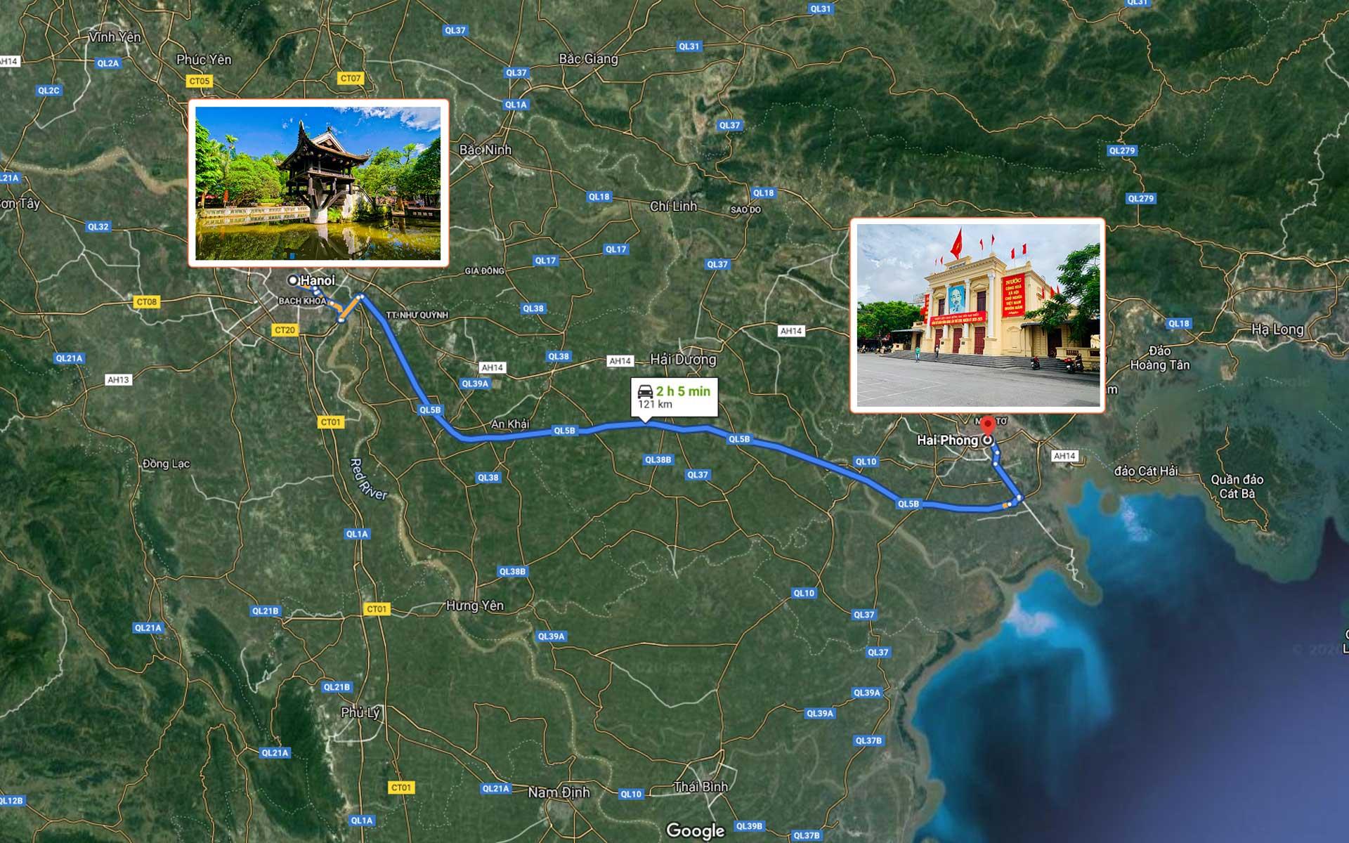 map from Hanoi to Hai Phong Opera House