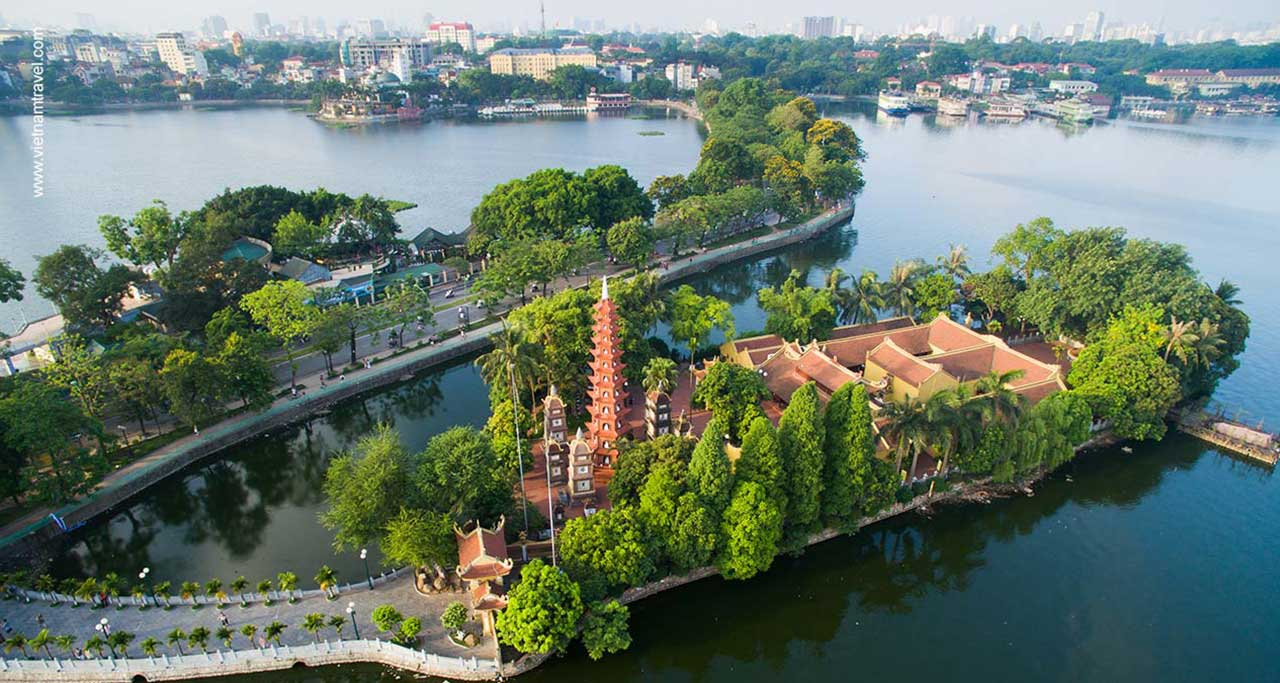 Tran Quoc Pagoda is located on Kim Nguu islet within West Lake
