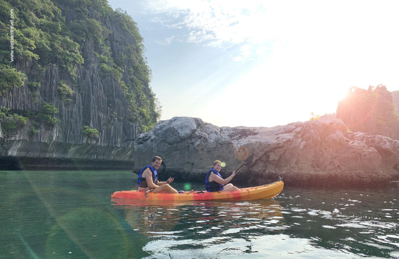 Kayaking around the island