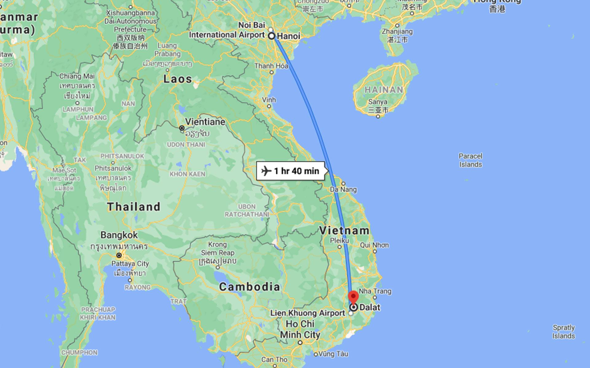 flight to Dalat from Hanoi