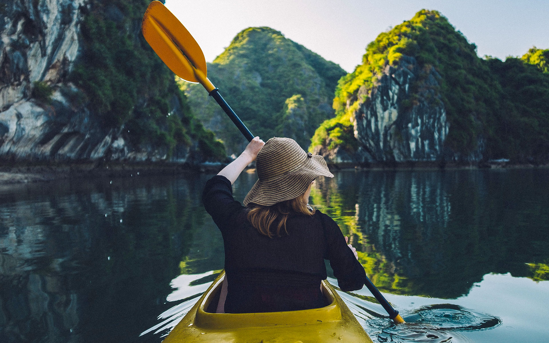 Kayaking is a favorite activity on Halong Bay